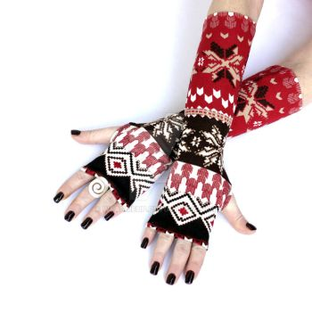 Red and Brown Winter Arm Warmers by WearMeUp