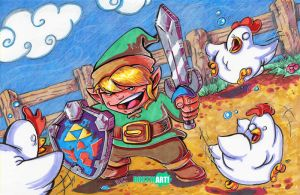 Link versus the chickens by DustinEvans