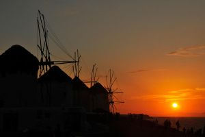 Windmill sunset 1 - Mykonos by wildplaces