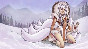 Arctic Ahri Pin-up by ElizabethBeals