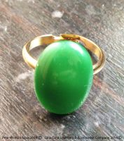 Gold Plated Green Oval Moonstone Ring by Pete-Wentz-I-Love