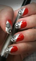 Red with Black + White Stamping by M-Everham