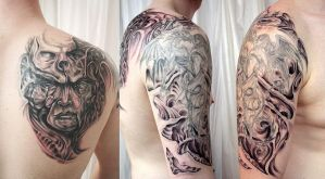 BMechanic Horror Sleeve Tattoo by 2Face-Tattoo