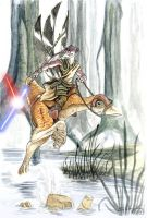 Gungan Jedi Knight on Kaadu by StuCunningham