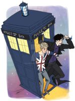Wholock in Tardis by reapersun