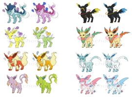 Eevee Mega Evolutions (CONCEPT ART + Stats) by Cachomon