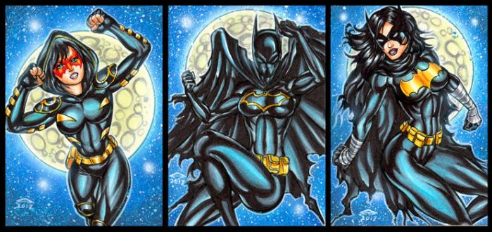ORPHAN, BATGIRL AND BLACK BAT SKETCH CARDS by AHochrein2010