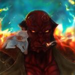 Hellboy soft spot for kittens. by Glass-Owl