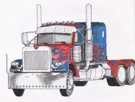 Optimus Prime as truck by BlackTerrorsaur