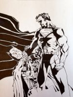 Batman Hush/Superman inked by carriekaty