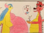 Me(Dragon Form)and Mangle Meets Flower(SuperSized) by AnyFan1