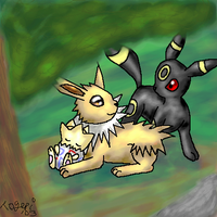 Jolteon Umbreon and Togepi by pdutogepi