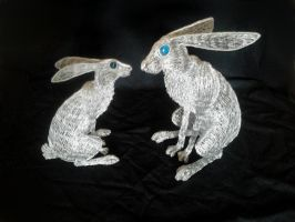 Hare pair 1 by braindeadmystuff