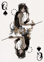 D'espairsRay Deck - Queen of Spades by robbiedraws