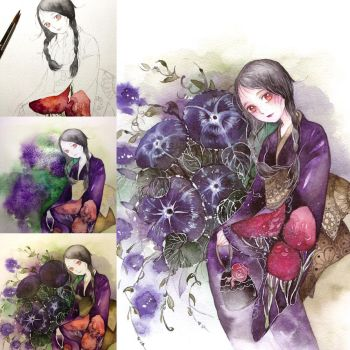 step by step watercolor by Lovepeace-S
