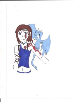 Anime Girl with Dragon inked and mainly colored by roxasheartaxel