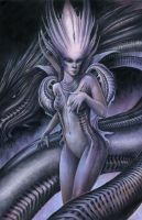 Purple Gigeresque Dragon Lady by Markelli