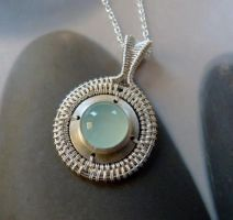 Aqua chalcedony wire-wrapped pendant by Kreagora