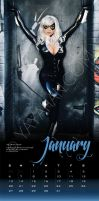 2013 Calendar layout - Black Cat - January by yayacosplay
