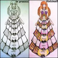 gold and purple princess dress by BethzAbonitz