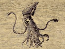 squid on wood by jasonclarke