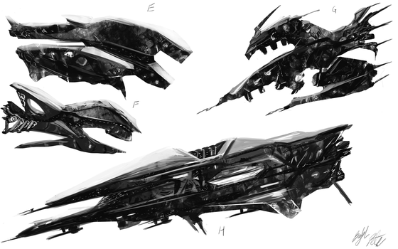 Spaceship concepts2 by PeterPrime