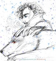 Jon Snow + Ghost by sketchditto