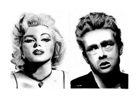 James Dean and Marilyn by EasyPickins