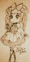 Sweet Lolita pencil sketch by CaramelMoelleux