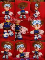 Taichi and Koromon plush version by Momoiro-Botan