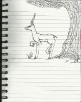 Notepad Doodle: Springbok Antelope by Loopy-Lass