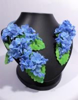 Blue Hydrangea Flower Necklace by fion-fon-tier