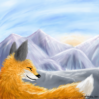 Fox on the mountain by Yokkyena