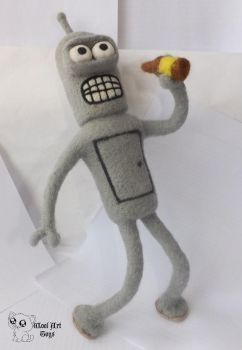 Bender Bending Rodriguez Needle felted toy by WoolArtToys