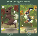 Draw this again meme - bunny by Kipine