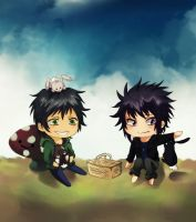 AxO: Chibi Hunter and Phil by SanityNotFoundHere