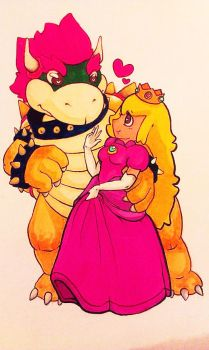 Bowser and Peach by kittenspore