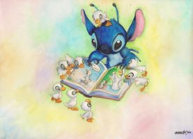 Stitch and Ducklings by omgitsyourface