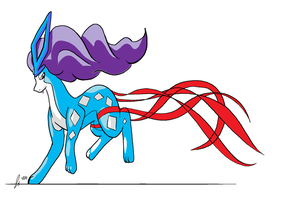 Pokemon - Suicune With Ribbon by redeyeswolfman