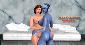 Liara X Shepard   BED-PARTNERS  8-24-2014 by blw7920