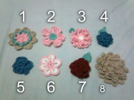 Crochet Flowers by seawaterwitch
