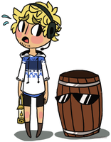 A scared Pewds and a barrel. by Simonetry