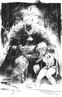 Batman - inks over Jim Lee pencils. by kevinmellon