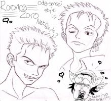 zoro sketches by pirateneko