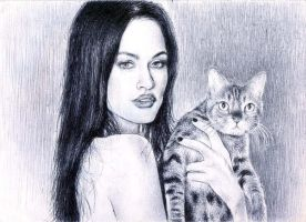 Megan Fox and Cat by onpumi