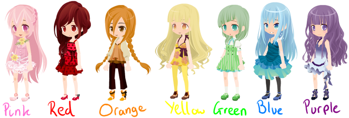 Rainbow girl adoptables -ALL TAKEN/ON HOLD- by 13-Shooting-Stars
