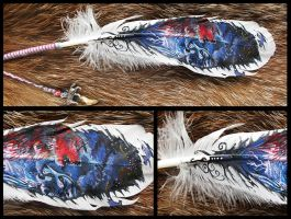 Paint on feather: two soul by WolfRoad