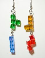 Dangly Tetris Earrings by caresnia