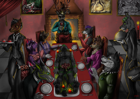 Commission - Furry dinner with Hannibal by FuriarossaAndMimma