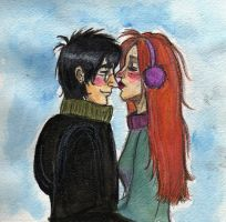 Harry Ginny Winter Smooch by kiwikewte